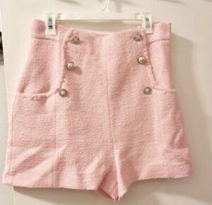 Zara Tweed Shorts Pink Size Small NWT