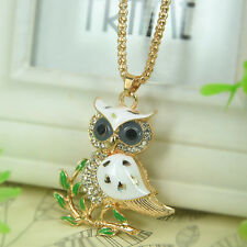 White Owl Sweater Necklace Rhinestone Crystal Pendant Chain Jewelry Christma Gif
