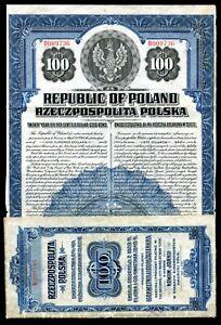 F06 - POLAND 1920. $100 Gold Bond with 3 Coupons. 20 Year Maturity New York Bank