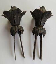 Vintage Cast Iron Metal Curtain Rod Decorative End Rose Flower Leaf Antique Pair