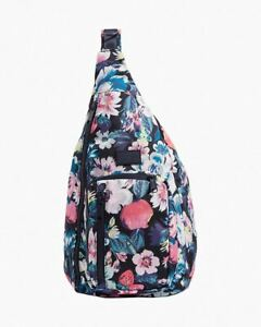 NWT 🌺🌸 Vera Bradley ReActive Sling Backpack Garden Picnic Navy Red 26679-Q23