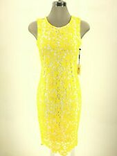 Calvin Klein NWT Exquisite CANARY/WHITE Cutaway Beautiful Lace Dress size 8 L@@K