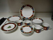 Oneida Majesticware Christmas Quilt 20 Piece Stoneware Dish Set DC Brown