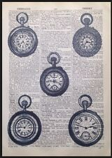 Vintage Clocks Art Picture Print Steampunk Alice In Wonderland Dictionary Page