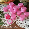 12 Cosmetic 1/2oz Plastic PINK JARS Screw Caps Lid Container #3803 Made in USA