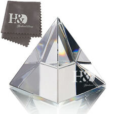 Clear Crystal Pyramid Healing Energy Craft Ornament with Gift Box Paperweight