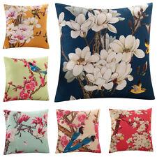 Cushion Cover Colorful Floral Bird Office Home Car Sofa Pillowcase Linen Cotton