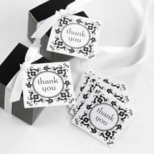 Black and White Filigree Square Thank You Wedding Favor Tags 25/pk