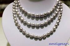 long  freshwater pearl necklace Light Gray Baroque 9x11mm 120cm metal clasp