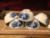 "5 Asian Porcelain Blue & White Koi w/ Symbols Rice Bowl 4""x2"""