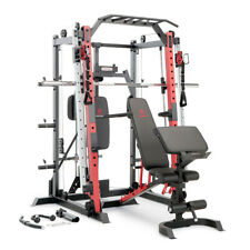 Marcy Smith Machine Cage System Home Gym Multifunction Rack, Customizable Red