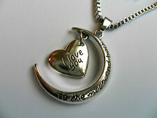 I LOVE YOU TO THE MOON AND BACK luna cuore placcato argento collana con ciondolo