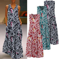 ZANZEA Womens Sleeveless V Neck Party Dress Holiday Beach Sundress Maxi Dresses