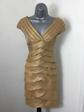 ADRIANA PAPELL SZ 8 GOLD DRESS WEDDING GUEST COCKTAIL PARTY EXCELLENT CONDITION
