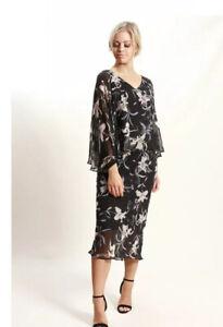 Chiffon Overlay Floral Dress Size 12 Au Good Quality Unworn Party Work