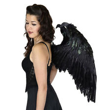 Feathered Black Wings Feather Maleficent Fairy Dragon Adult Halloween Costume M
