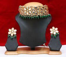 Indian ethnic Bollywood Fashion Flower Green Gold Plated Kundan Choker Earrings