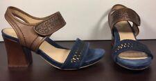 Earthies Asola Deep Blue Multi Suede Leather Sandal Heel Women's Size 8.5
