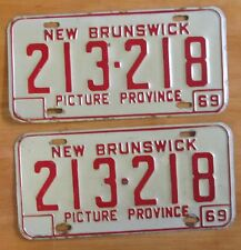 New Brunswick 1969 License Plate PAIR # 213-218