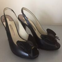 Ted Baker Black Leather Suede Bow Detail Peep Toe Sling Back High Heels 3.5 4 37