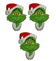 "Grinch Christmas Hat 6"" Tall Iron on Set of 3 Patches"