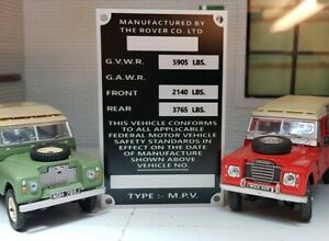 Land Rover Series 2a 3 NADA USA Export Information Plate 109 LWB Petrol