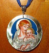 russe peint à la main pendentif coquillage J.C.Leyendecker MADONNA ET ENFANT