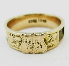Antique 9ct gold victorian mourning ring.  Size N1/2