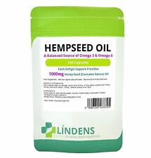 Hemp Seed Oil 1000mg rich balanced source of Omega 3 and 6 Lindens 100 capsules