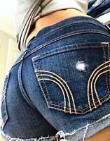 Hollister Ripped Destroyed Cuffed Short Short Denim Blue Jean shorts size 3