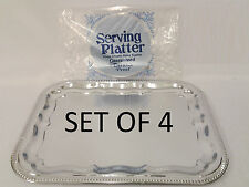 Rectangle Silver Effect Serving Plate Dinner Tray Platter Mirror Polished x 4