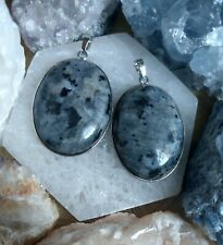 Black moonstone Larvikite necklace oval pendant Crystal healing spiritual suppor