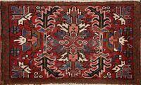 Vintage Geometric Heriz Hand-knotted Area Rug Traditional Oriental Carpet 2'x3'