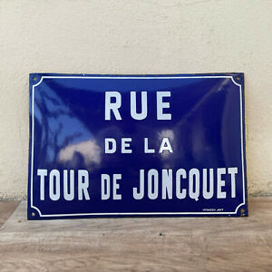 JAPY French Street Enameled Sign Plaque vintage JONCQUET arched bombed 18042127