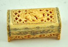 Vintage Chinese Bone Detail Hand Carved Flat Hinged Box- Lovely Two Bunny Rabbit