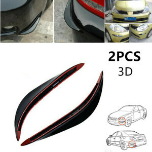 2x 3D Car Bumper Guard Cover Protector Streamline Anti-rub Crash Strip Prevent