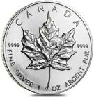 1990 1 Oz Silver $5 Canadian MAPLE LEAF Coin In Capsule.