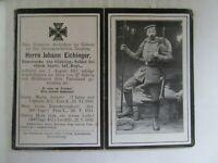VERY RARE WWI German Death Card, Rifle, Fixed Bayonet, All Equipment, Head Shot