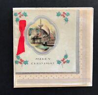 Vintage Mid-Century Greeting Merry Christmas Card w Tissue & Foil Unused