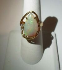 VINTAGE FIRE OPAL AND DIAMOND RING COCKTAIL RING 18K SIZE 6.5 TW 7.3 GRAMS