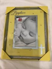 """New listing Russ Baby Girl Small Blessings Baptism Yellow Photo Frame w/ Pink Rhine 4"""" x 6�"""
