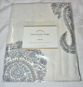 "Pottery Barn Rayna Paisley Drape Gray 50 x 84"" Cotton Linen Curtain Panel New"