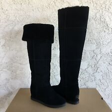 UGG CLASSIC FEMME OVER THE KNEE BLACK SUEDE FUR WEDGE TALL BOOTS SIZE 10 WOMENS