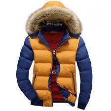 Warm Winter Men's Outwear Trench Coat Fur Hooded Jacket Parka Overcoat Padded