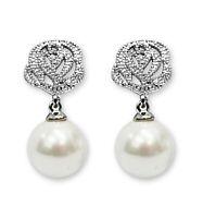 CLIP ON Earrings Crystal Silver Rhinestone Dangl Pearl Rose Non Pierced
