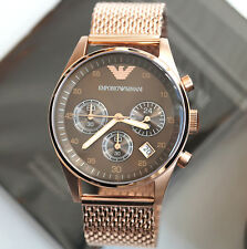 Authentique EMPORIO ARMANI Or Rose Luxe Chronographe Hommes's Women's Watch