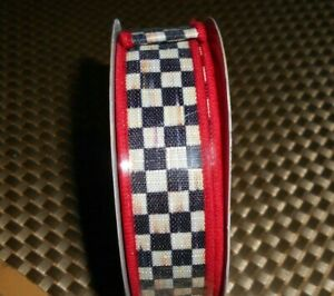 """MACKENZIE CHILDS 1""""  COURTLY CHECK WITH RED BACKING WIRED EDGE RIBBON"""