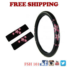 New Pink Spring Flowers Car Truck Steering Wheel Cover Seat Belt Covers Pads