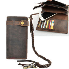 Vintage Men's Leather Card Holder Long Chain Trucker Wallet Biker Billfold Purse