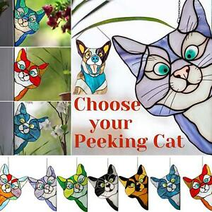 Cat Stained Glass Sun Catcher Kitten Window Hanging Suncatcher Home Decor